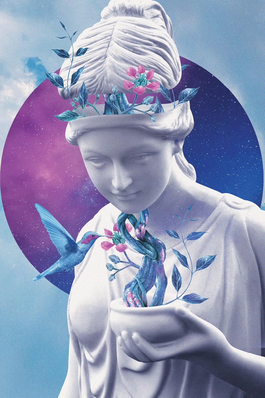 Ilustração de uma estatua de mulher branca com procedimentos de flores e folhas