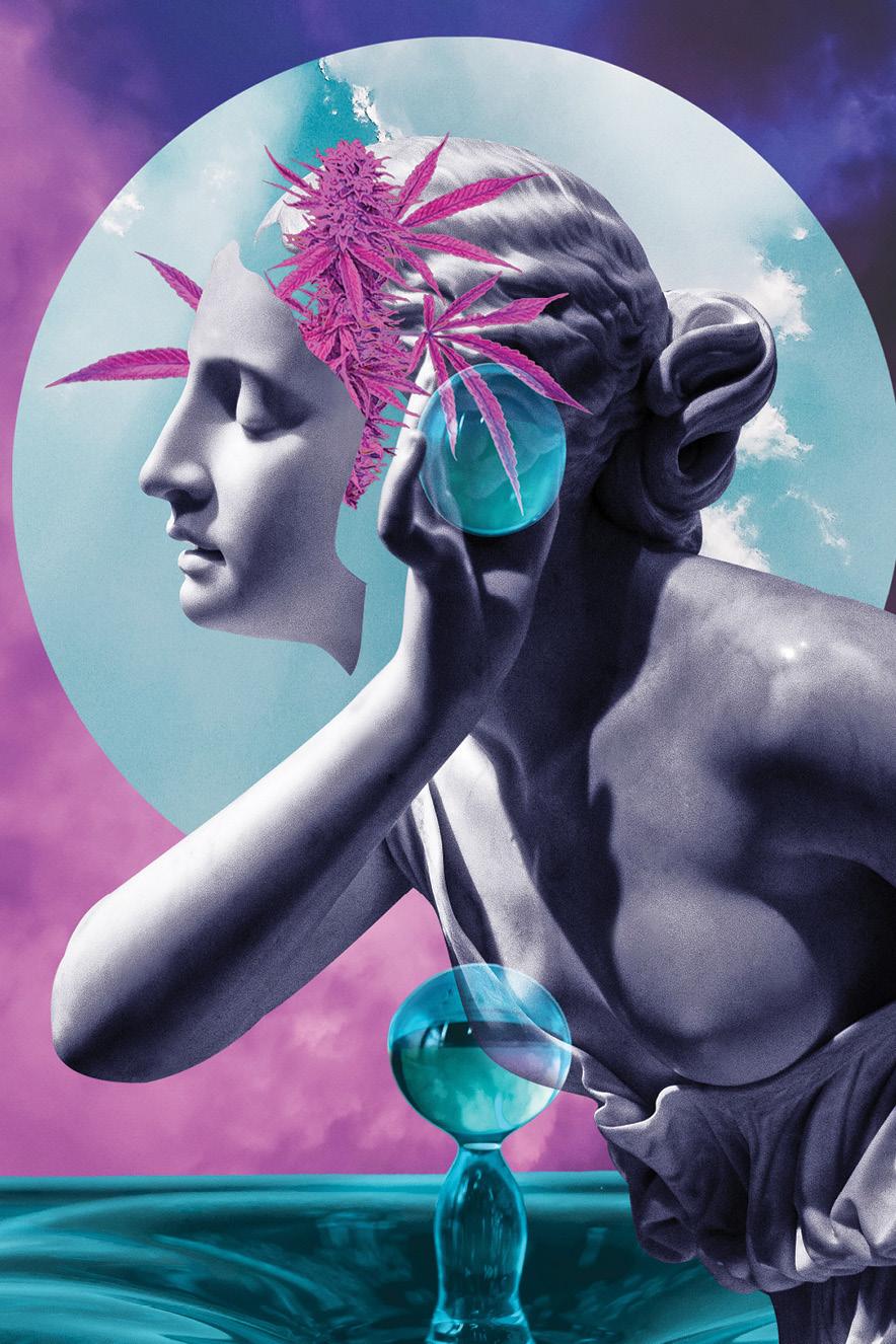 Ilustração de uma estatua de mulher branca com medidas coloridas de flores e folhas