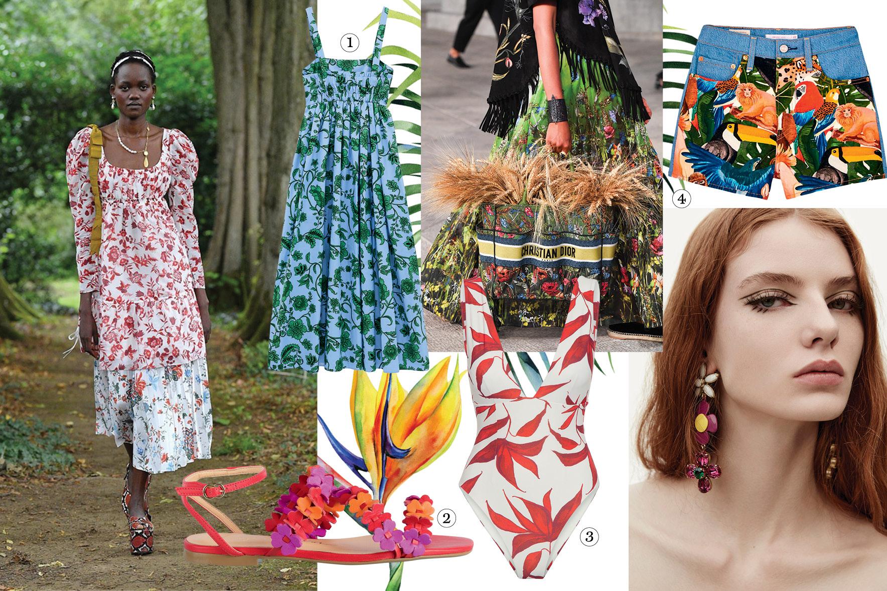 Colagem com diversas atrizes, modelos e peças de roupas com estampas botânicas bem coloridas