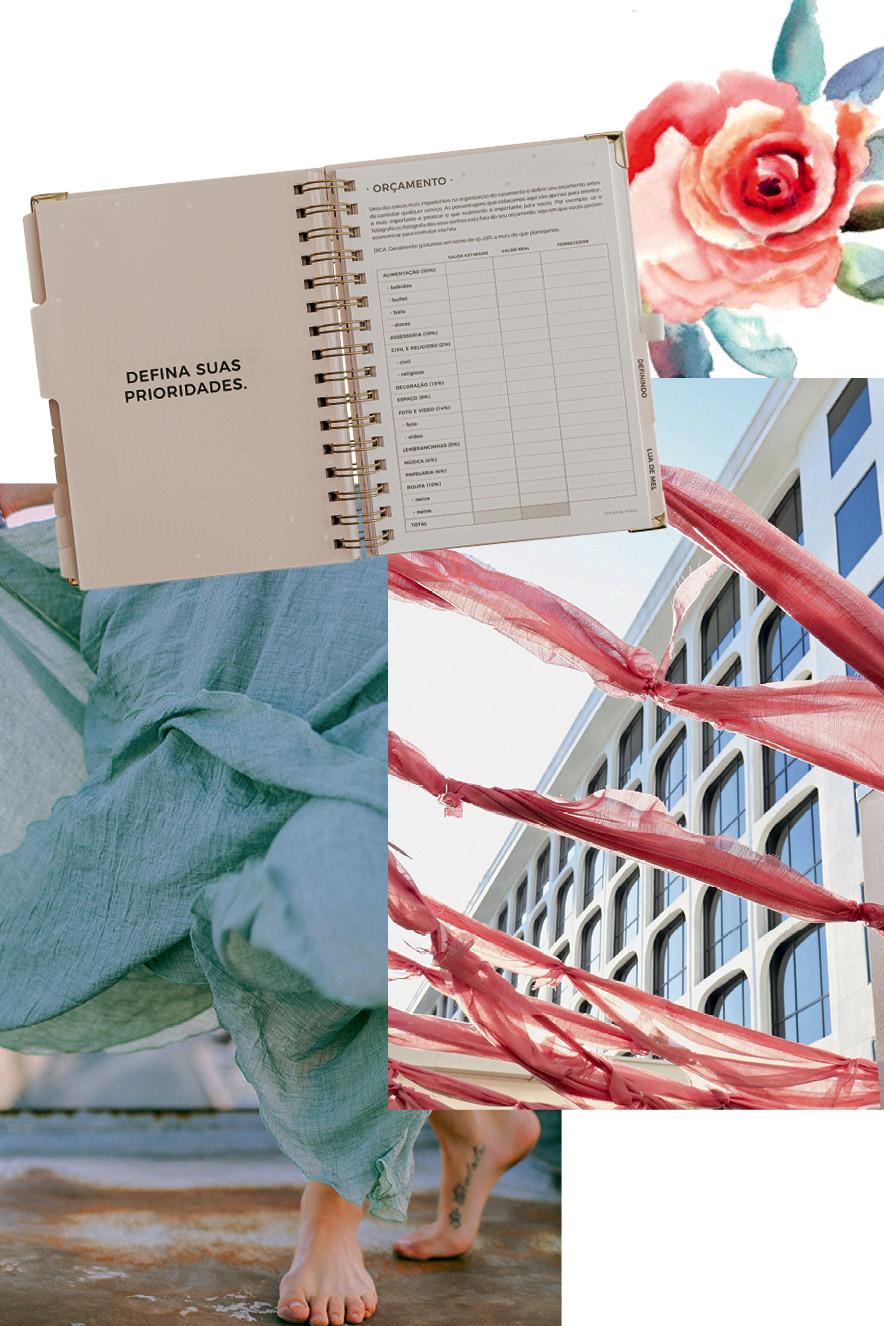 agenda para organização sobre fotos de vestido azul, fitas coloridas e espaço para festas