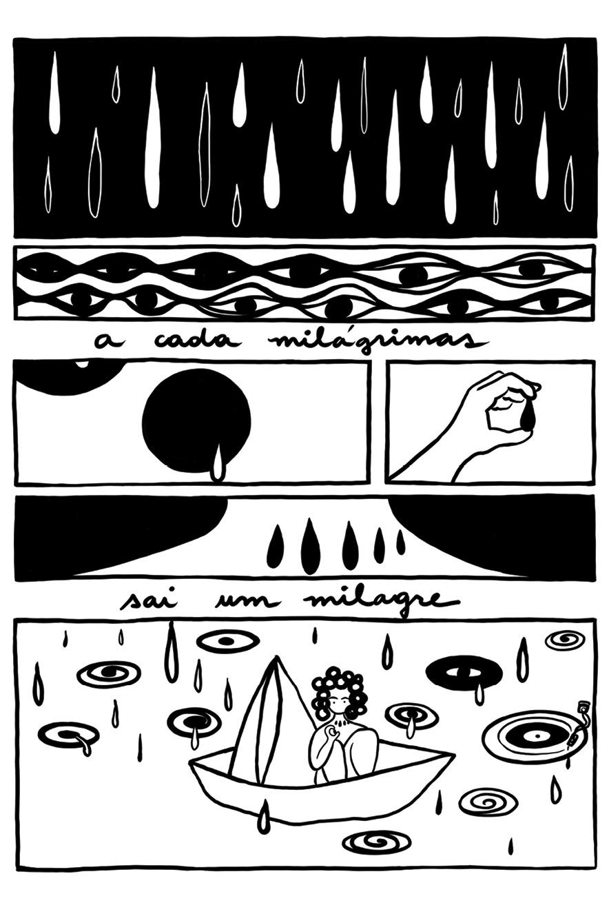 Ilustração em quadrinhos com o texto a cada milágrimas nasce um milagre