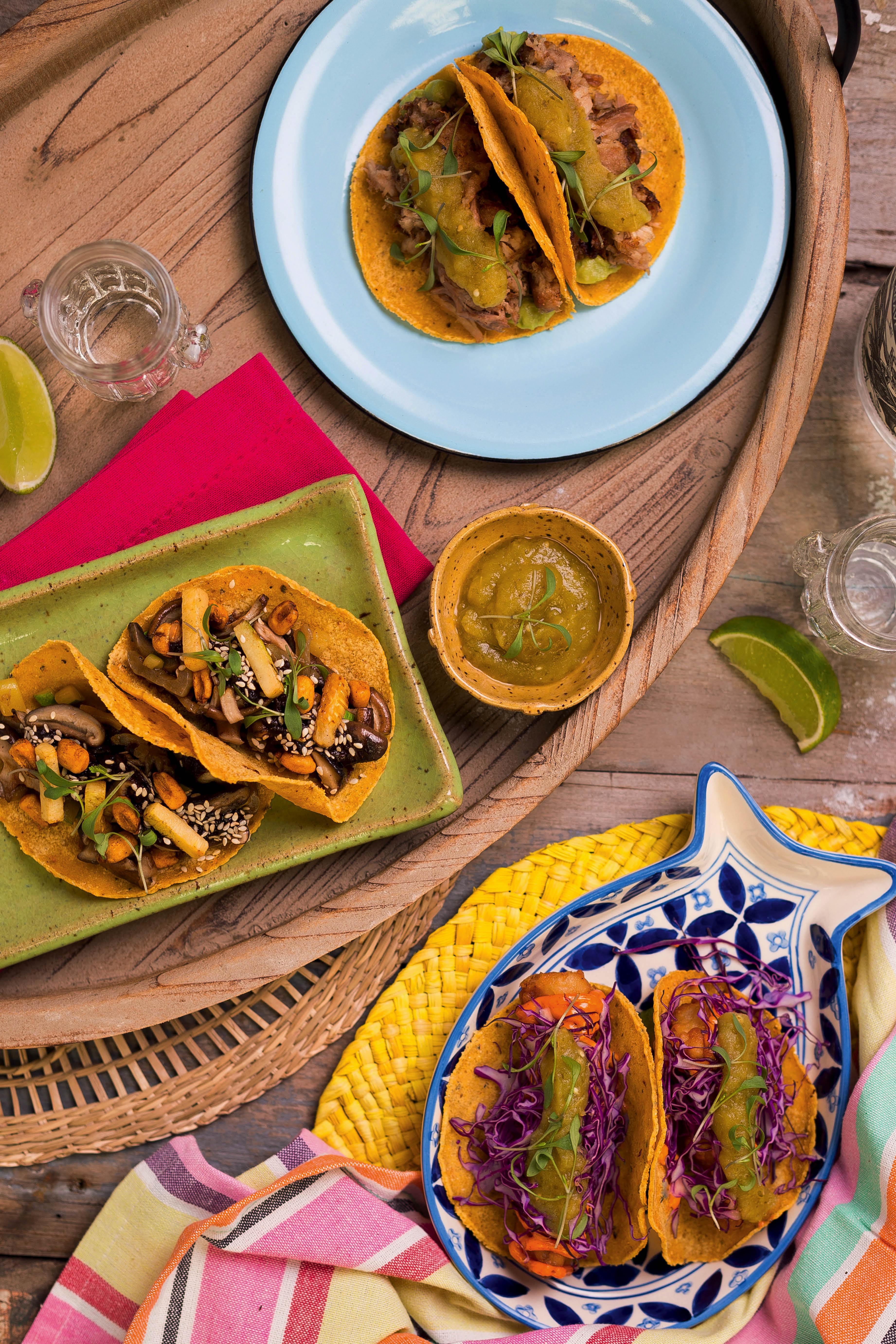 Tacos de canitas, umami e pescado, do Lupe, Bar y Taqueria
