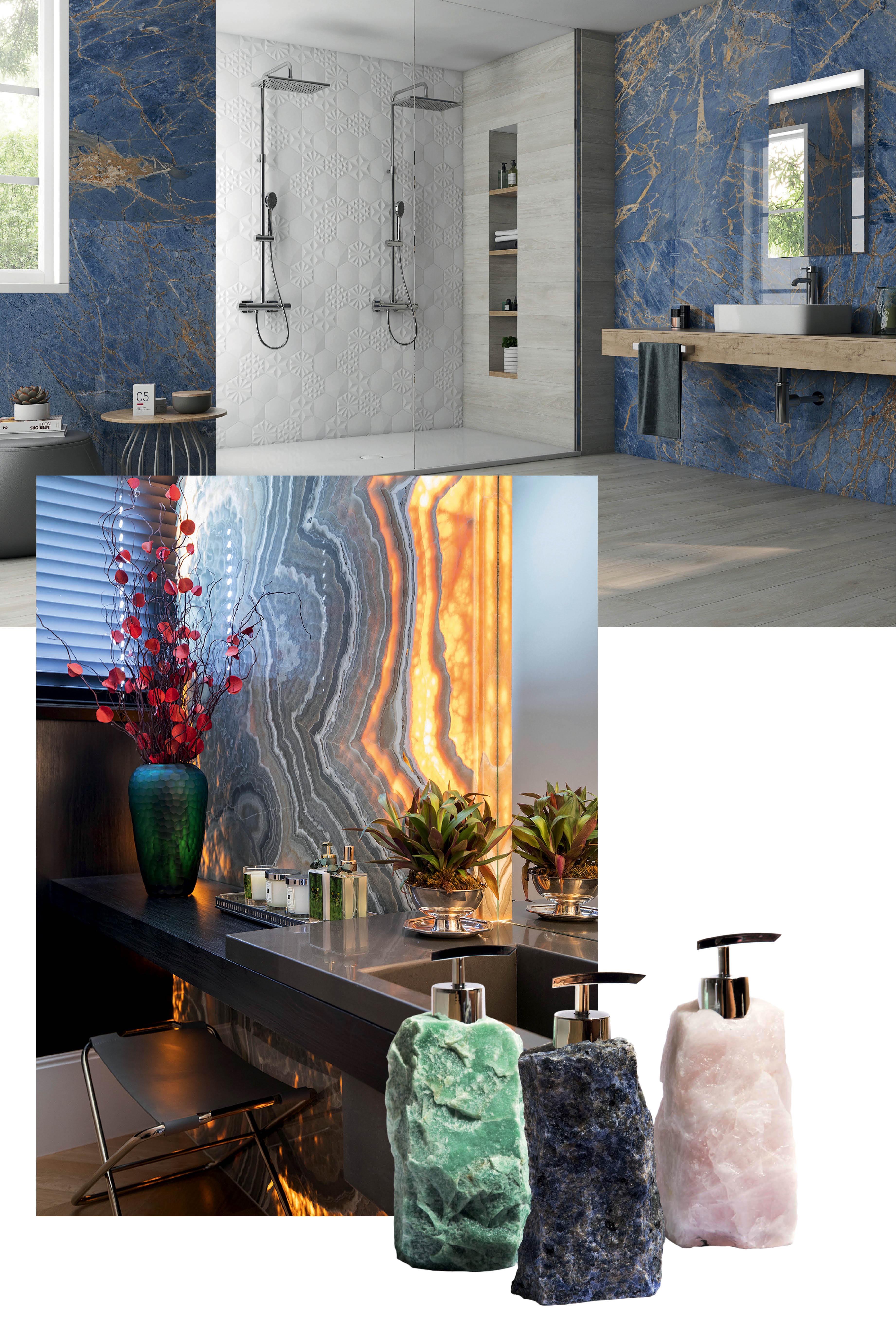 Objetos de decoração em pedra, cristal e mármore