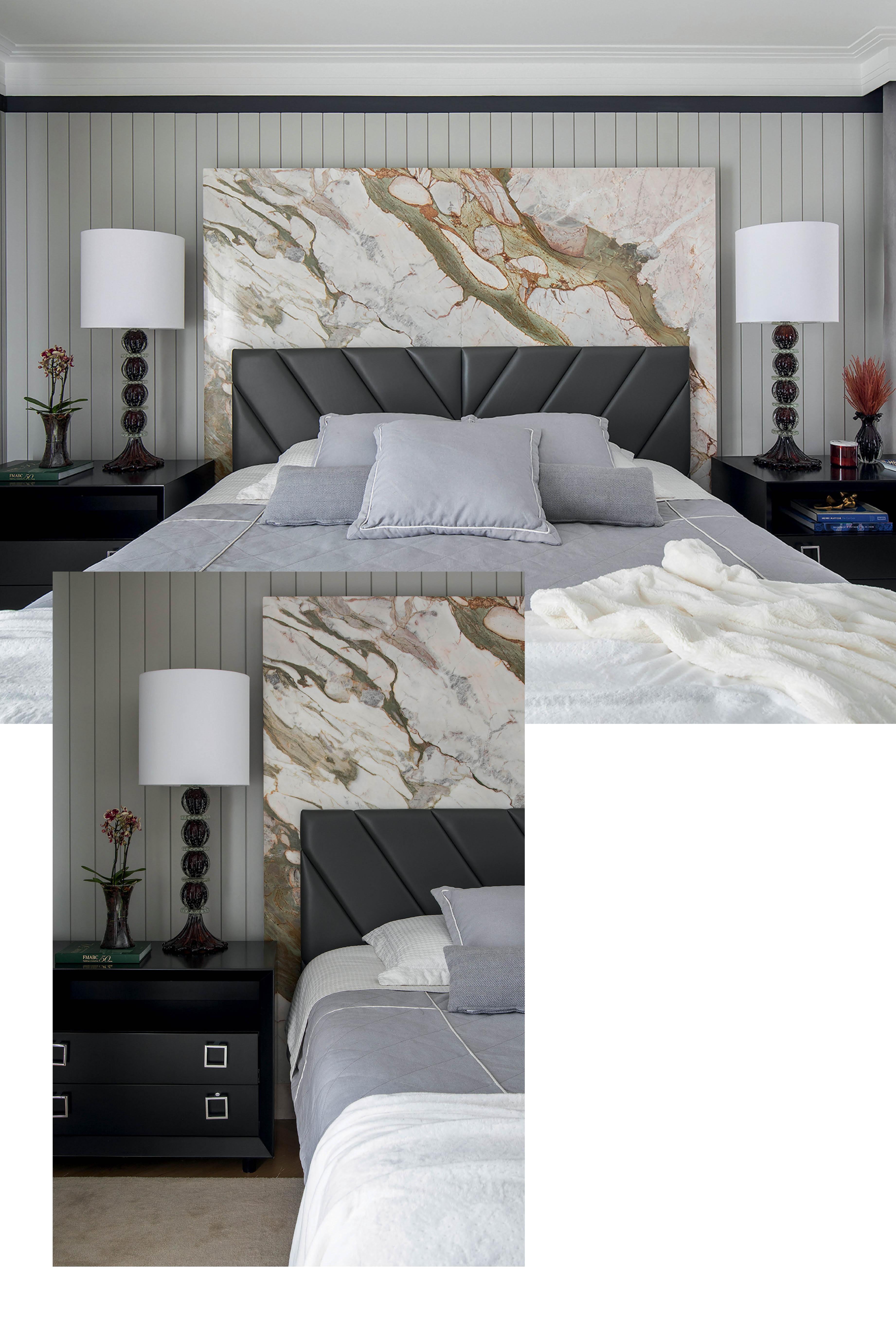 O mármore Branco Paraná, uma pedra com veios bem demarcados, foi a escolha do arquiteto