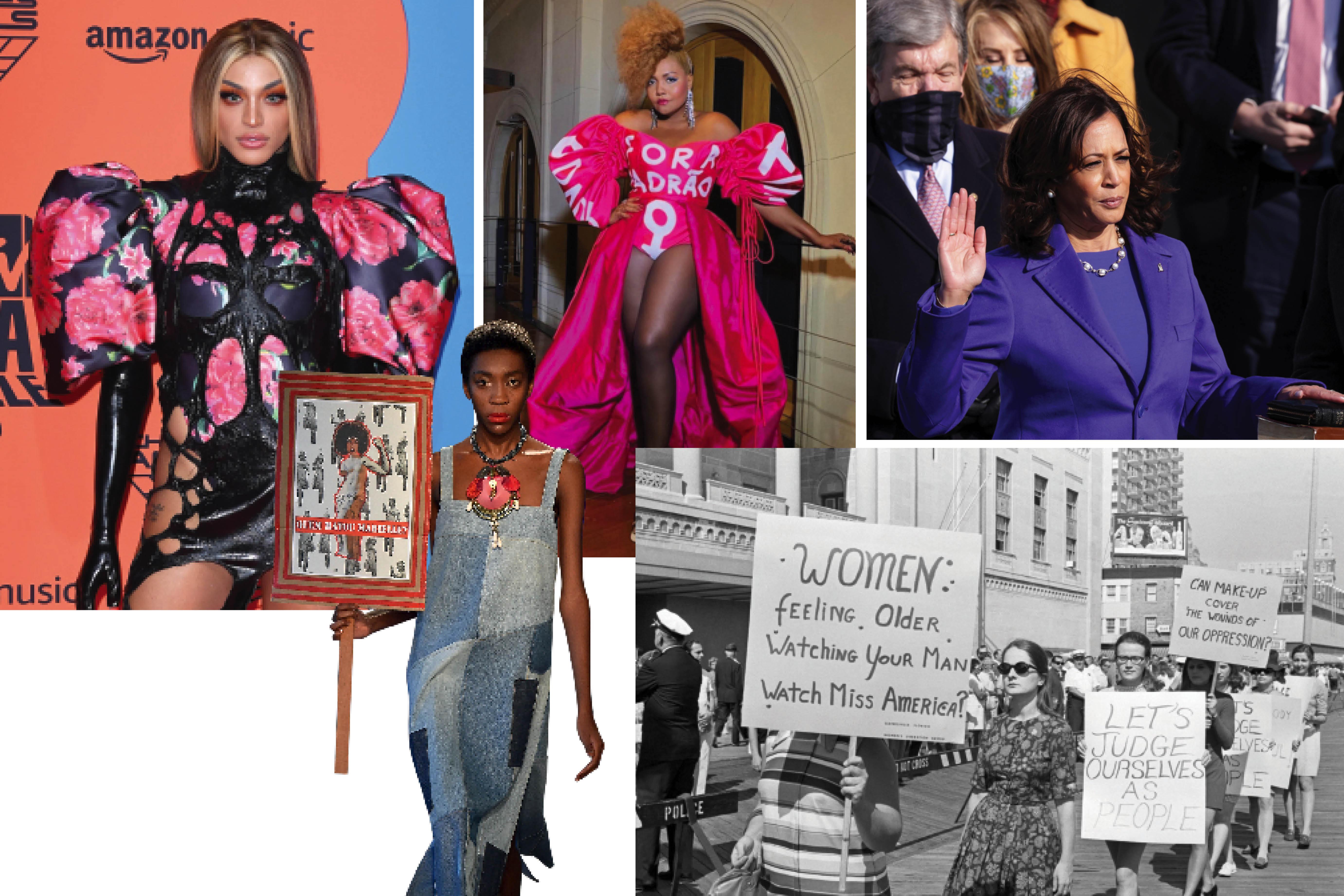 pessoas usando roupas com mensagens políticas