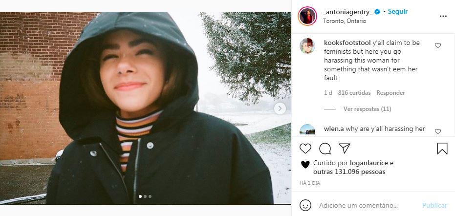 Print de comentário no Instagram da atriz Antonia Gentry após polêmica com Taylor Swift