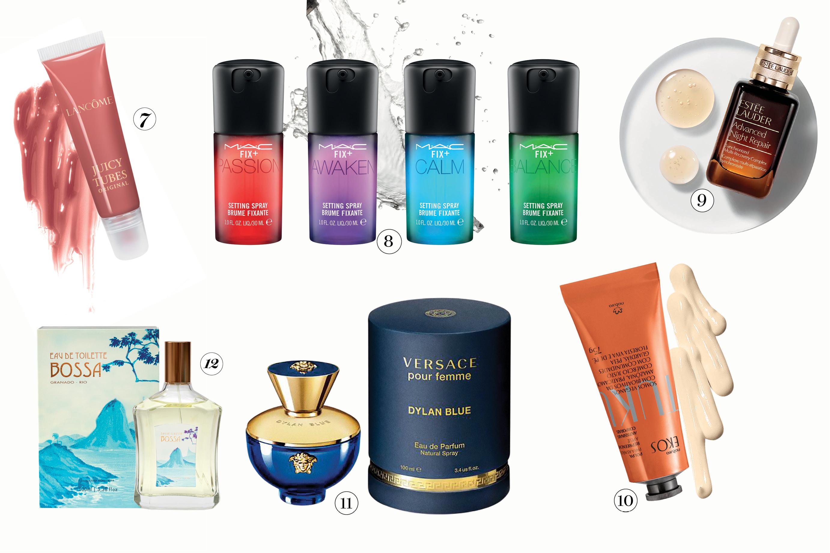 Produtos de beleza como perfume, batom, cremes