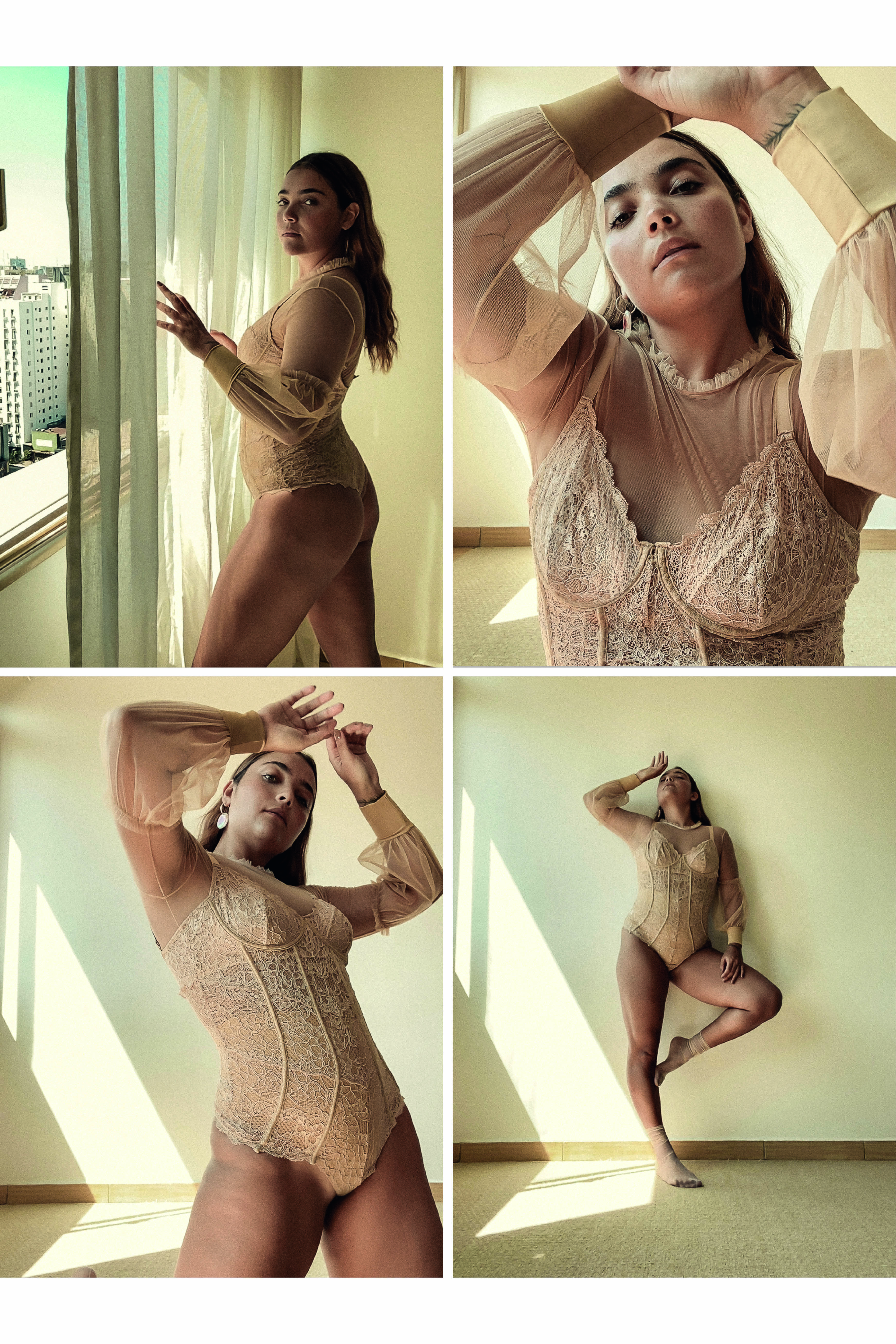 Modelo usa lingerie e posa para foto em diversas poses