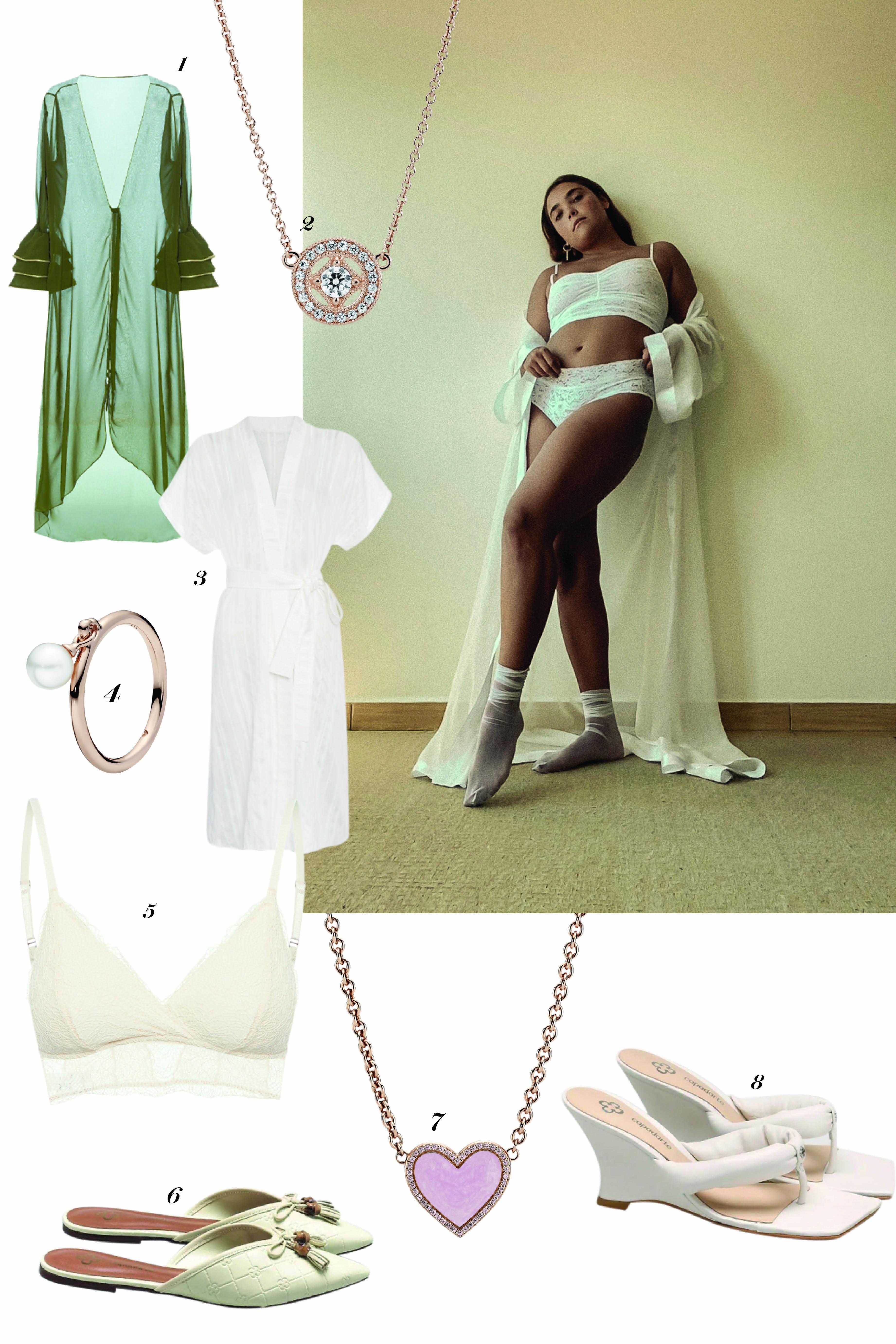 Fotos de peças de roupa e acessórios para copiar o look da modelo