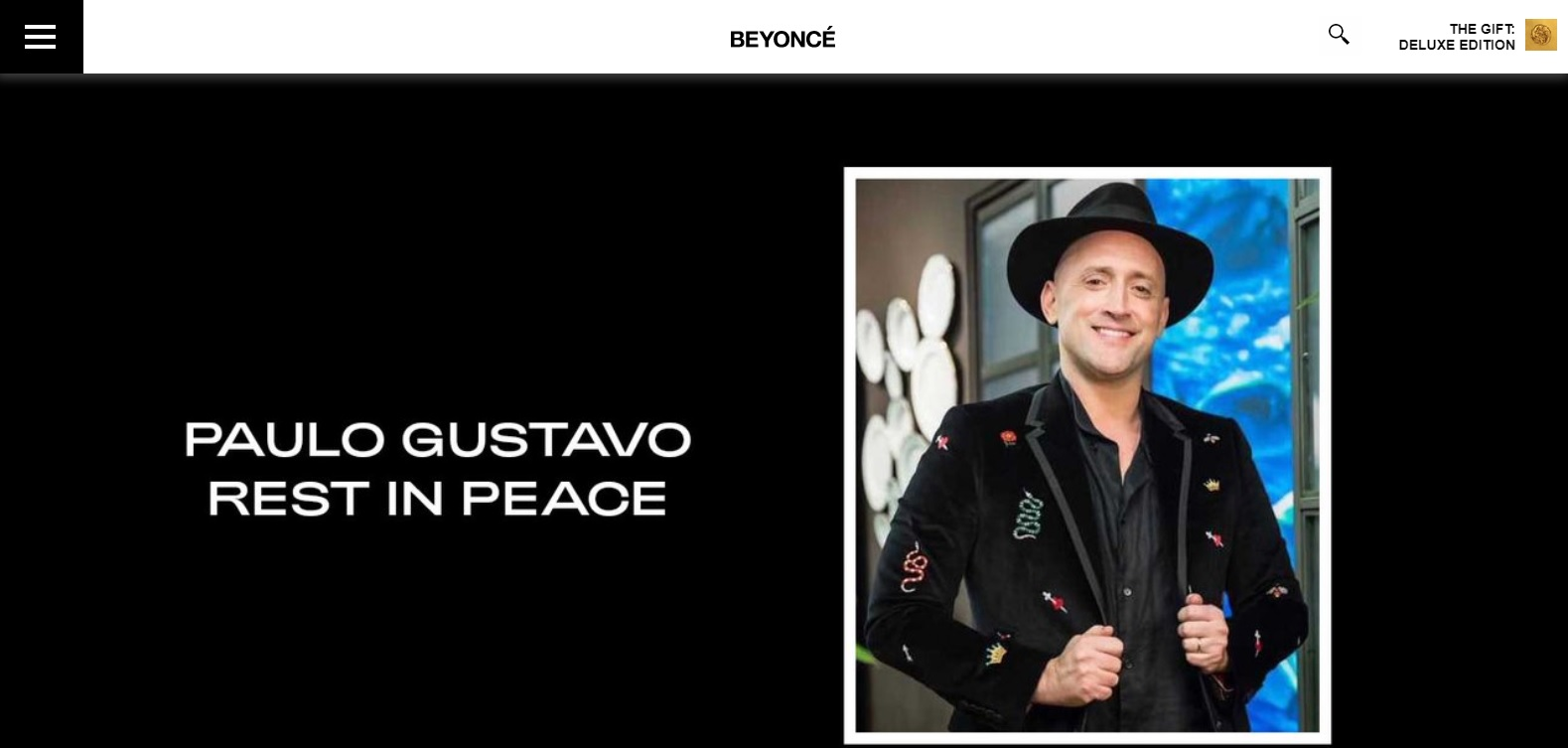 Beyoncé presta homenagem a Paulo Gustavo