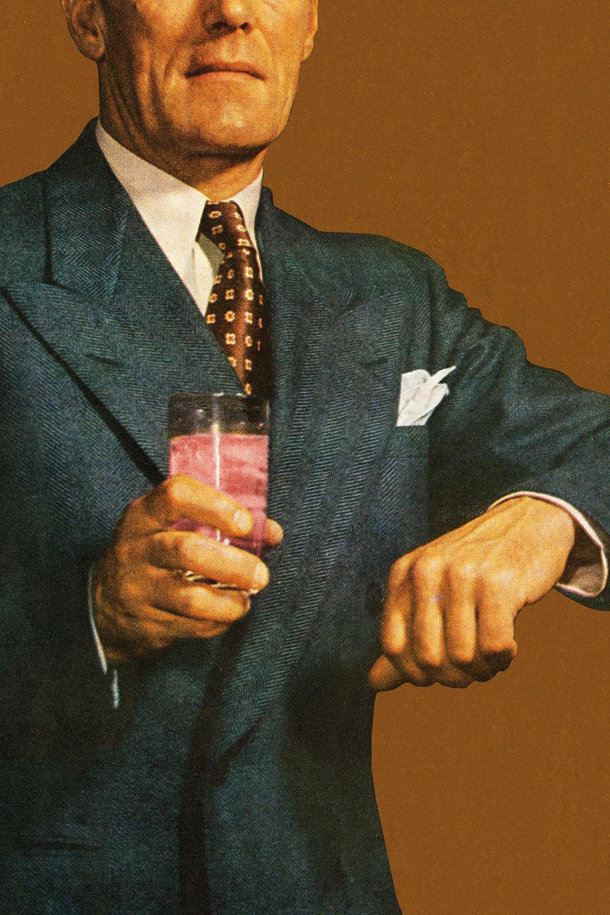 ilustração retrô de homem de terno segurando copo de bebida