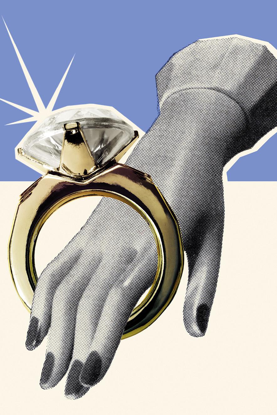 ilustração retrô de mão de mulher com anel gigante de diamantes