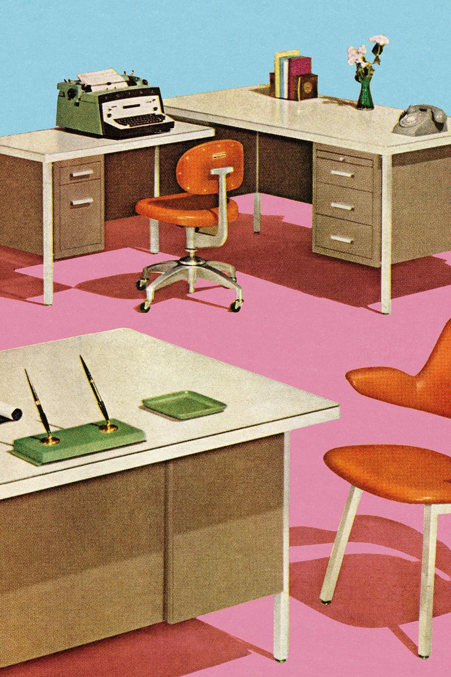 ilustração retrô de escritório antigo
