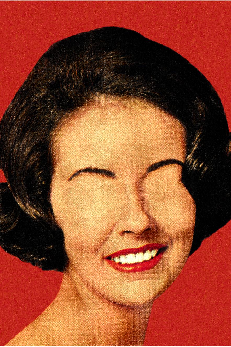 ilustração retrô de mulher sem olhos