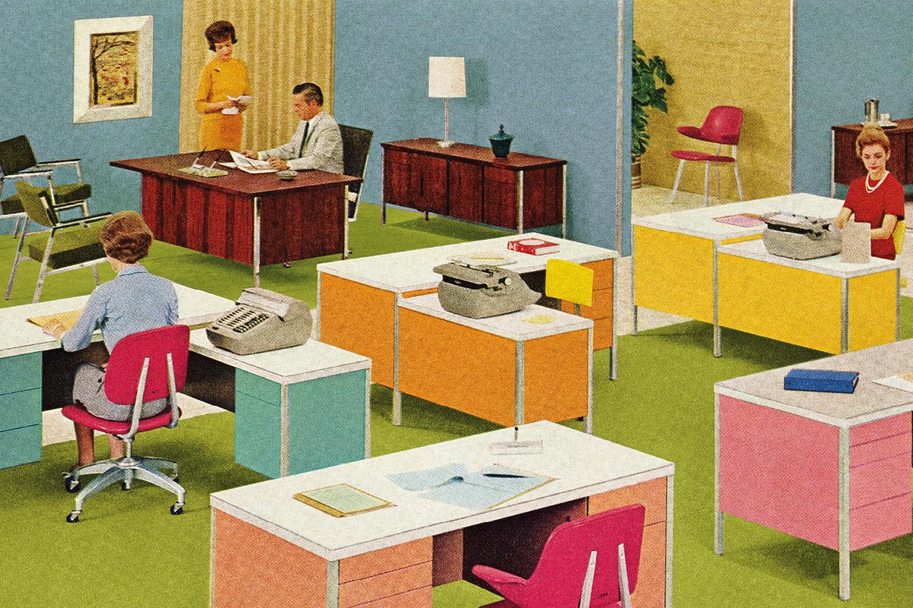 ilustração retrô de escritório