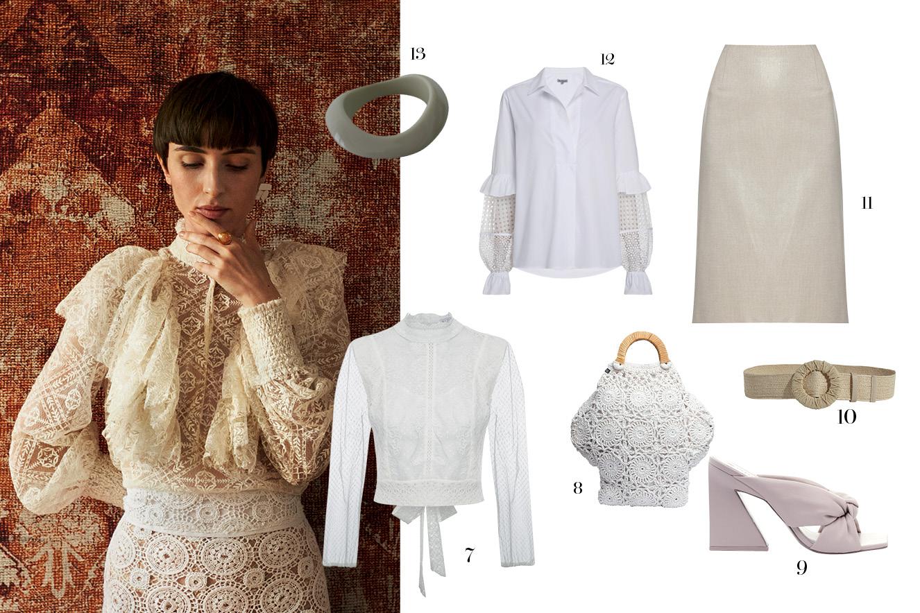 Foto da modelo com roupa branca e, ao lado, peças similares
