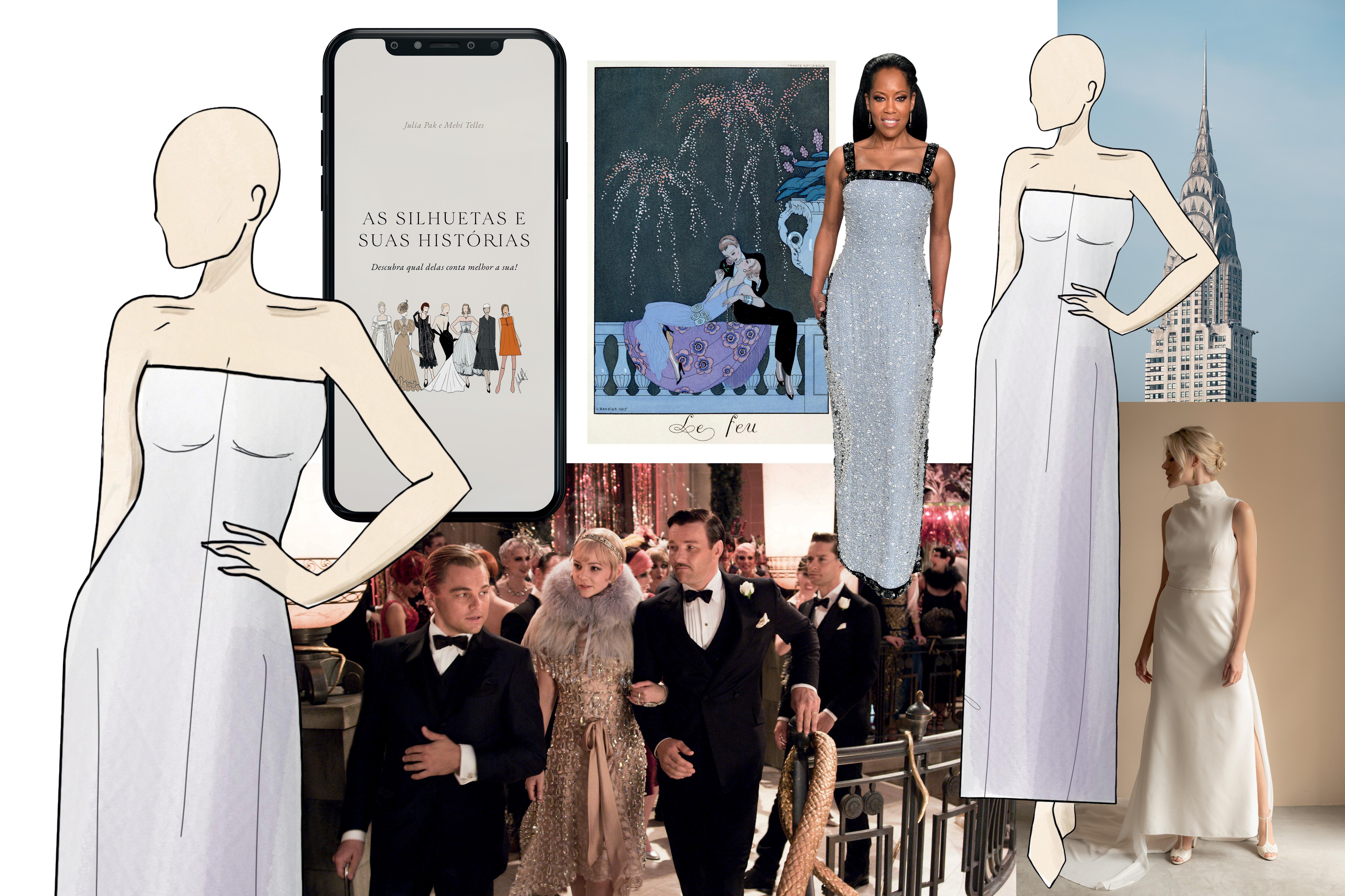 vestidos de noiva, cena de filme e a capa do livro