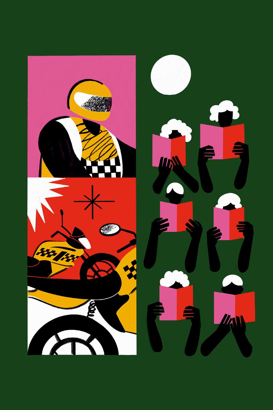 Ilustração de mototáxis e pessoas lendo