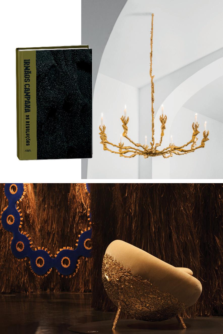 Fotos das peças dos Irmãos Campana e a capa do livro