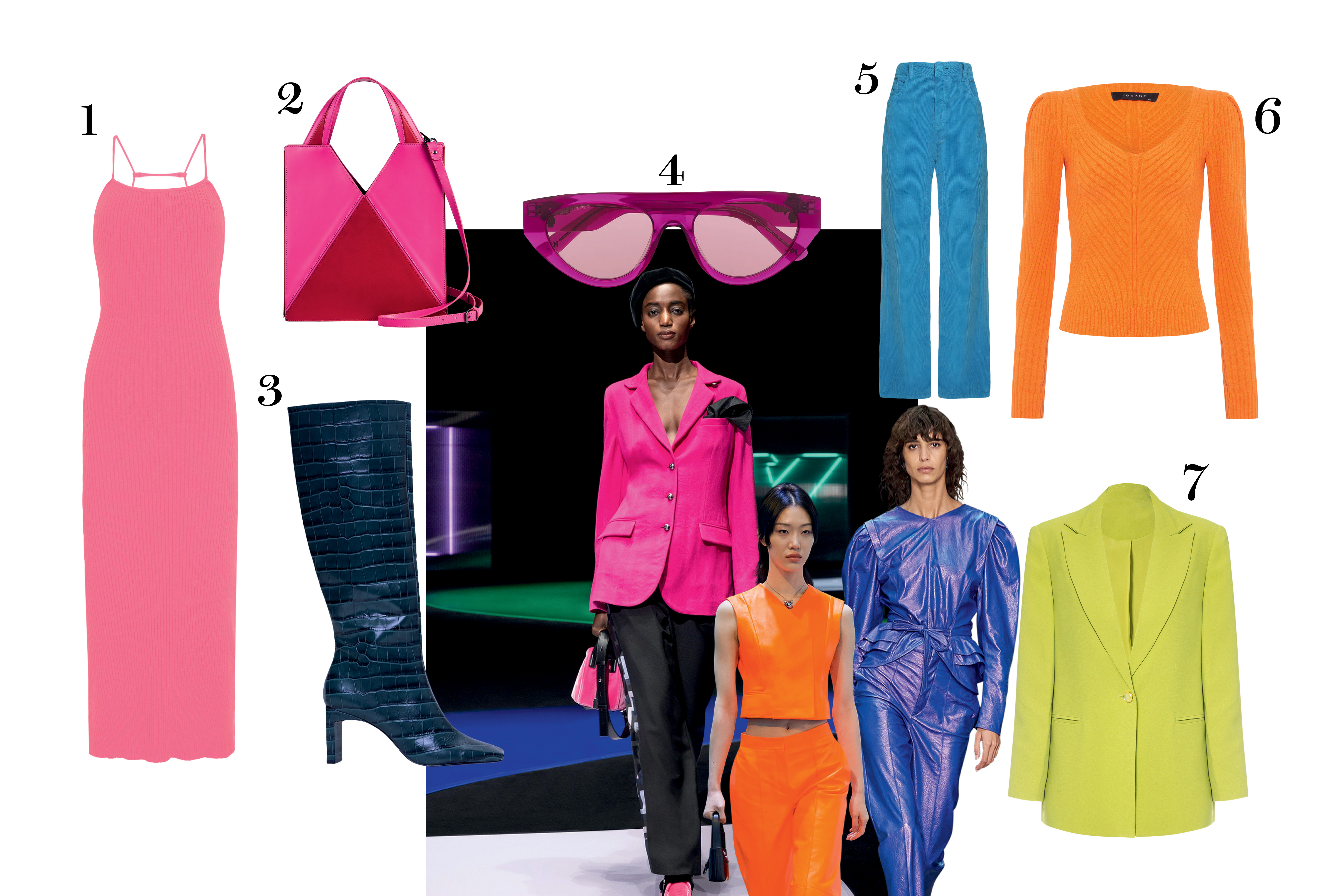 modelos e peças de roupa coloridas