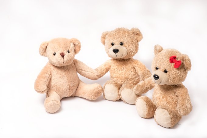 3 family bears on color background, love warmth, education