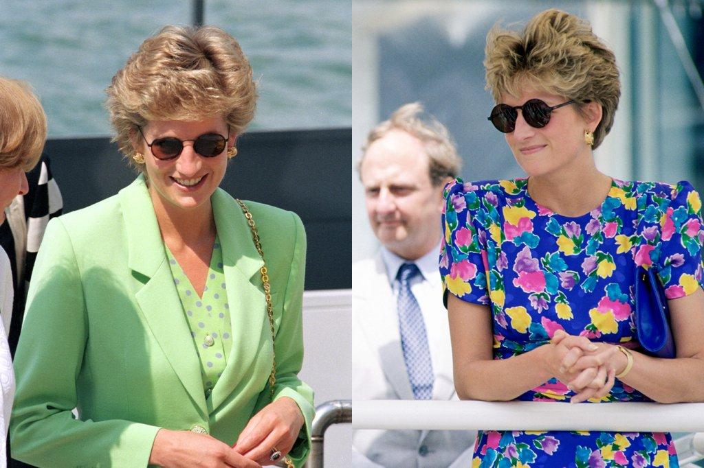 Duas fotos com Princesa Diana sorrindo com óculos escuros.
