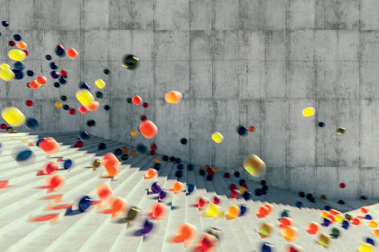 Bolas coloridas caindo escada abaixo