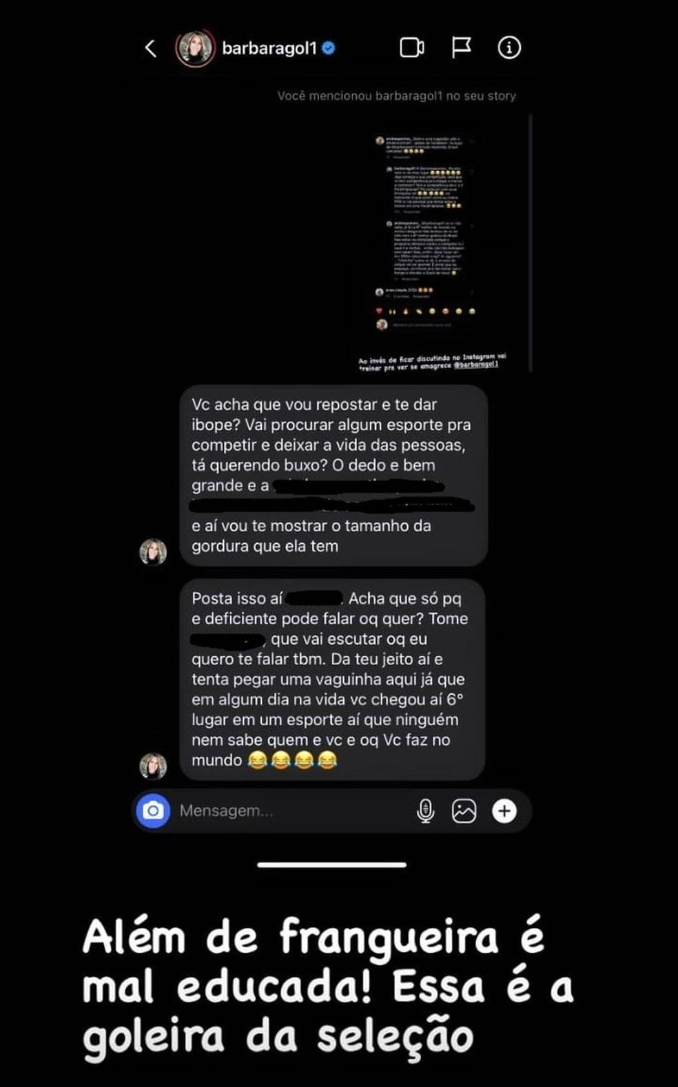 comentários de Andrea Pontes e Bárbara no Instagram