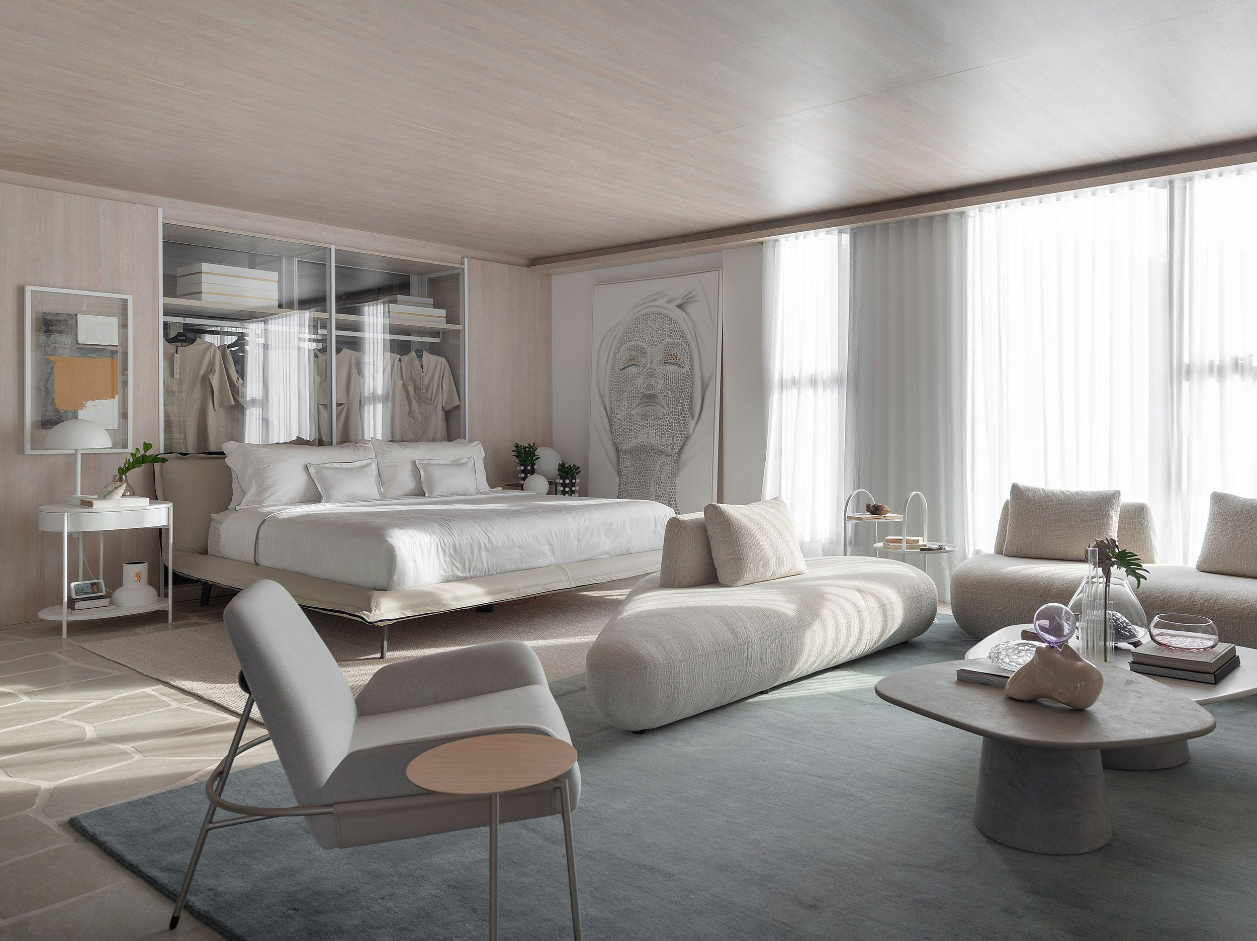 Sala de estar com tons cinza