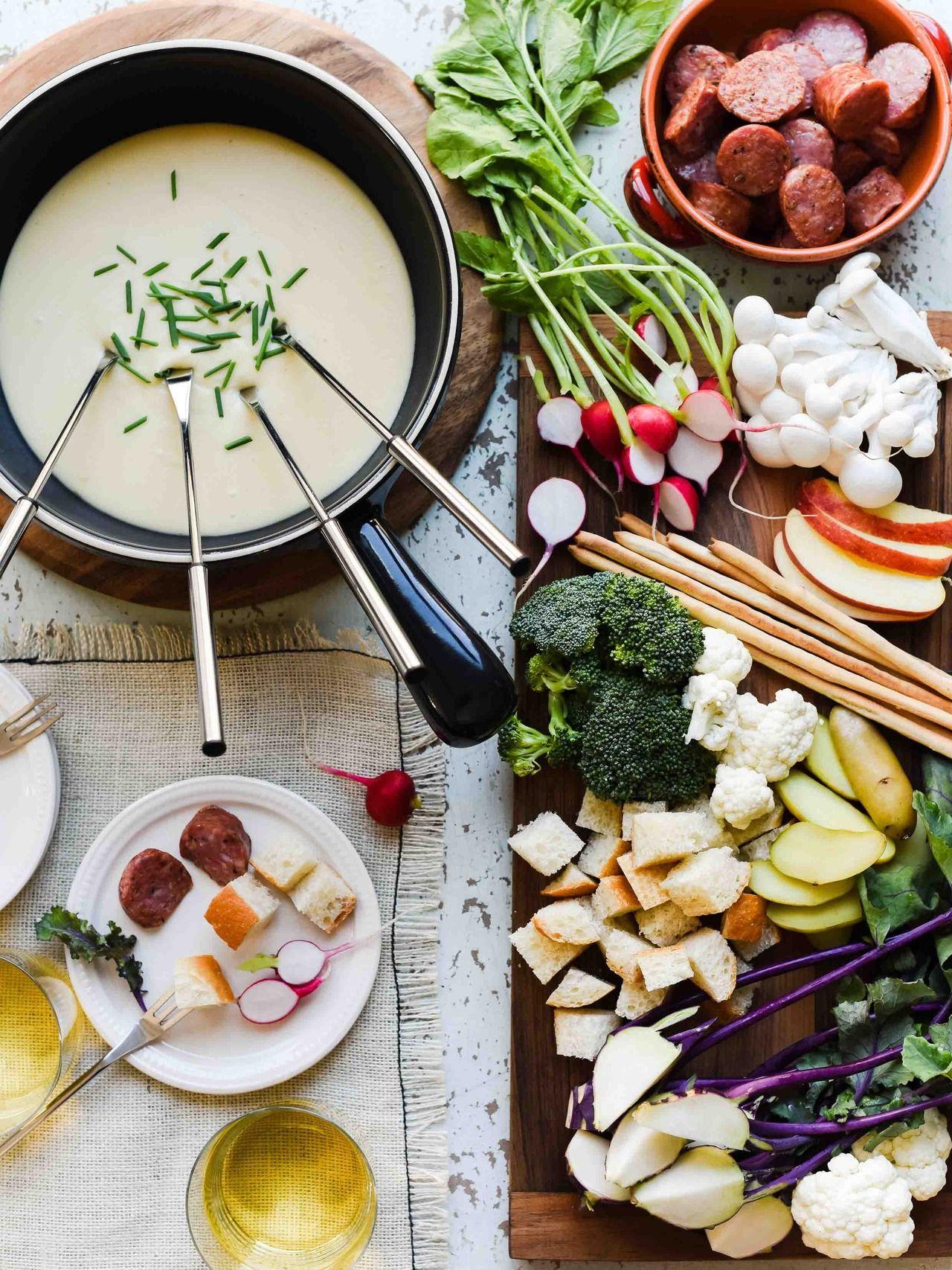 fondue de queijo com legumes