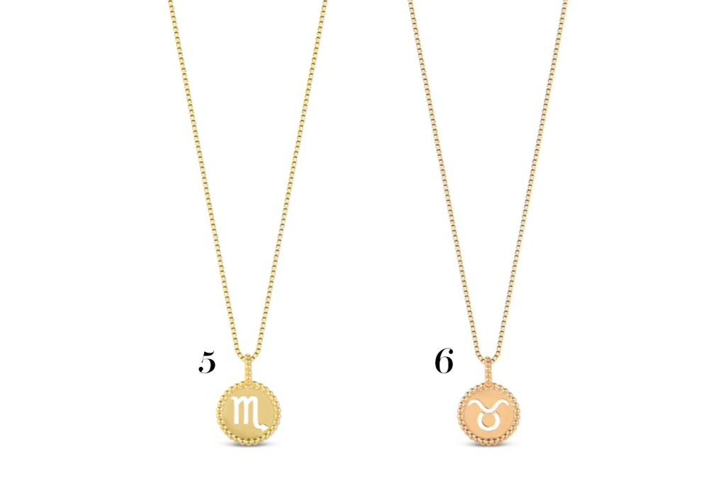 Dois colares pequenos com pingentes de signos.