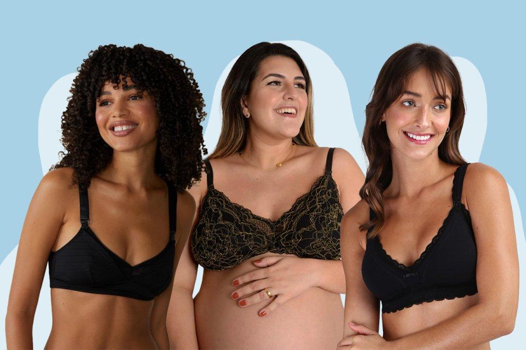 Três moças sorridentes usando sutiã materno de cor escura.