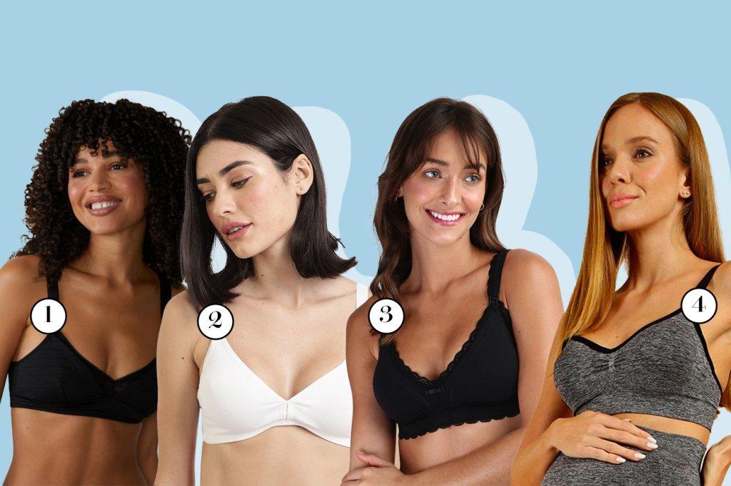 Quatro modelos com sutiãs de amamentação diferentes.