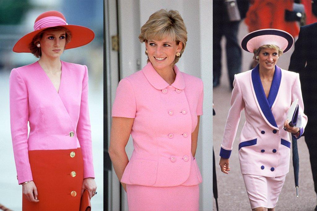 Três imagens da Princesa Diana de cabelo curto e com peças de roupa rosa.