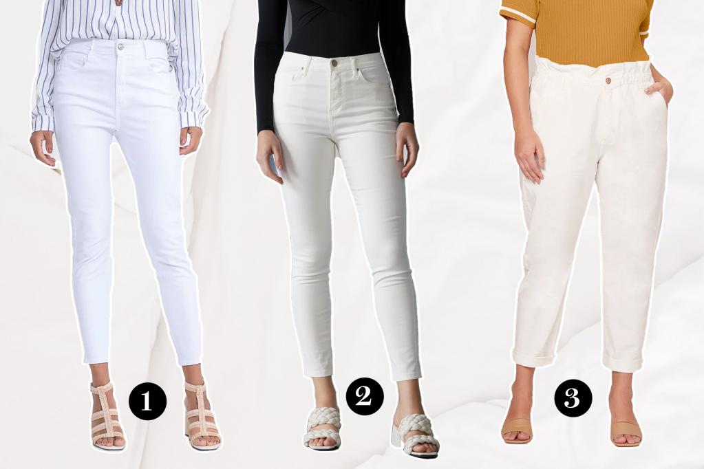 Três modelos de calça branca posando para a foto publicitária.