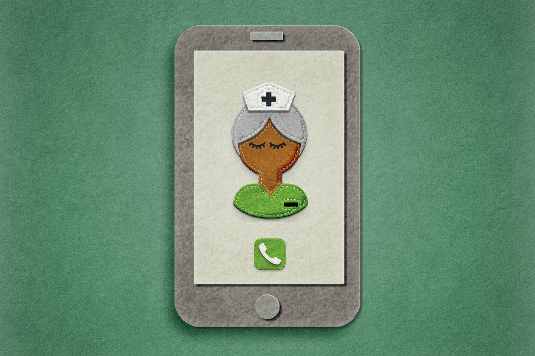 celular de feltro com enfermeira desenhada