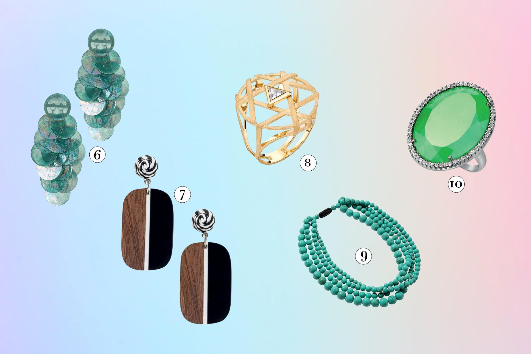 brincos, colares e anéis máxi