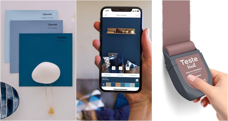 aplicativos, adesivos e testes de cor