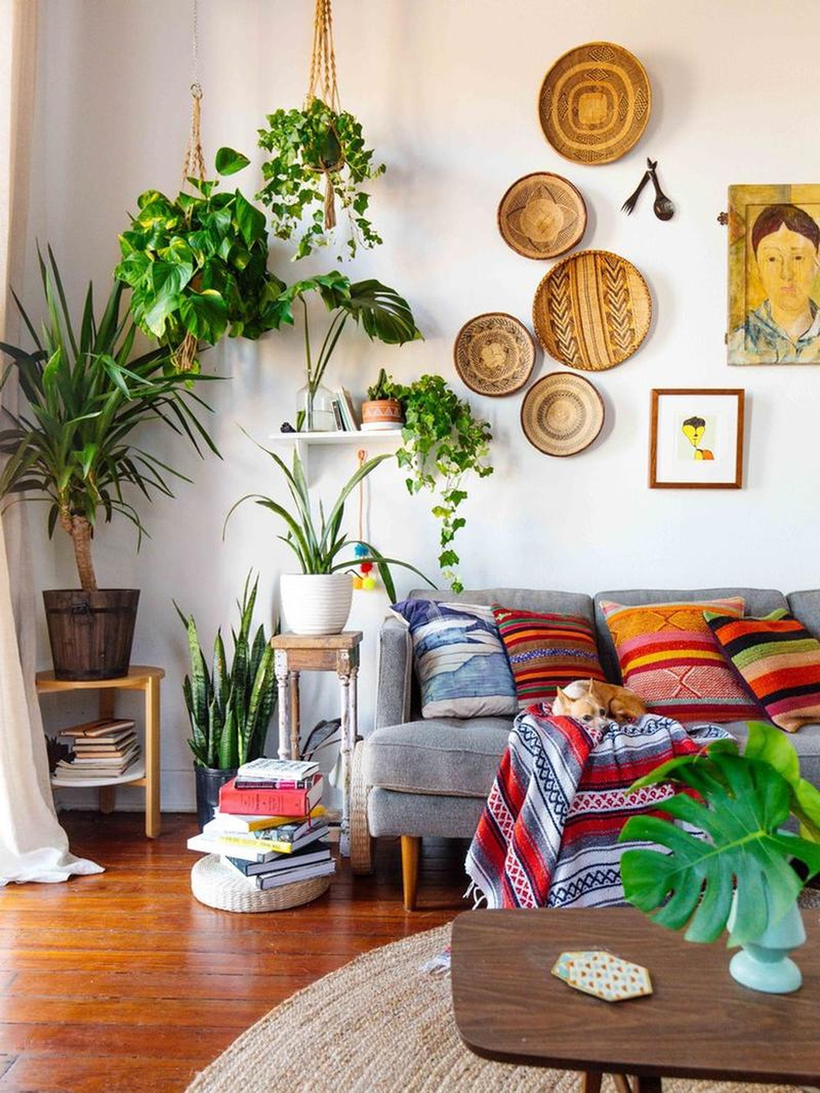 decoração de parede com cestaria