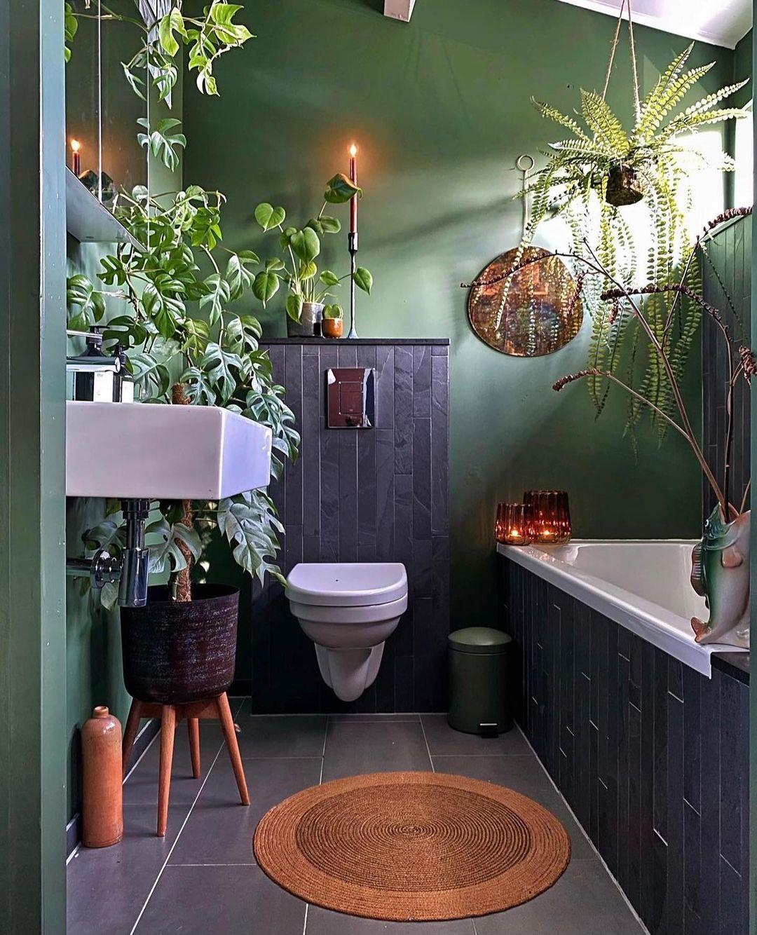 plantas no banheiro