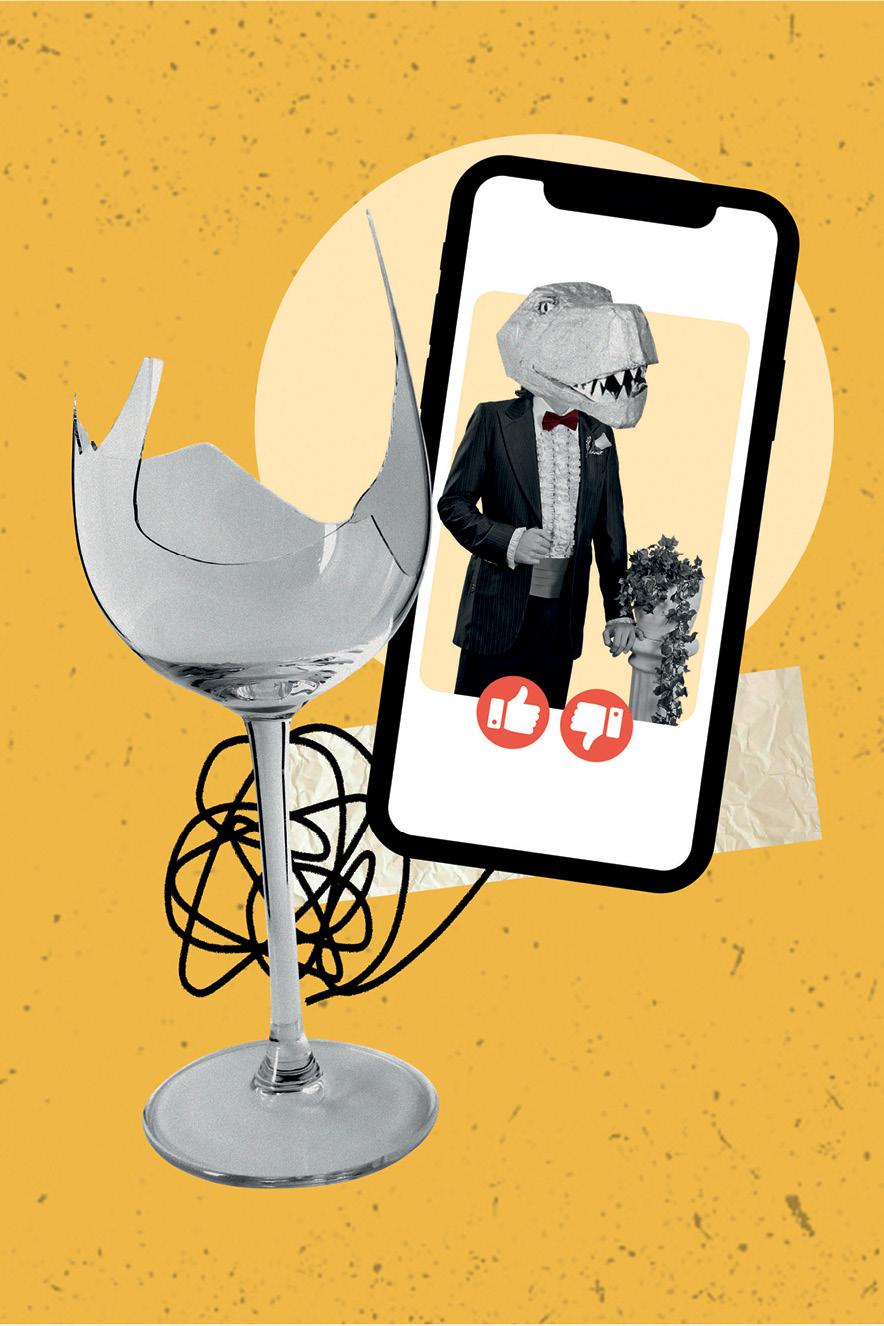 colagem de celular com imagem de homem com cabeça de dinossauro e taça de vidro quebrada