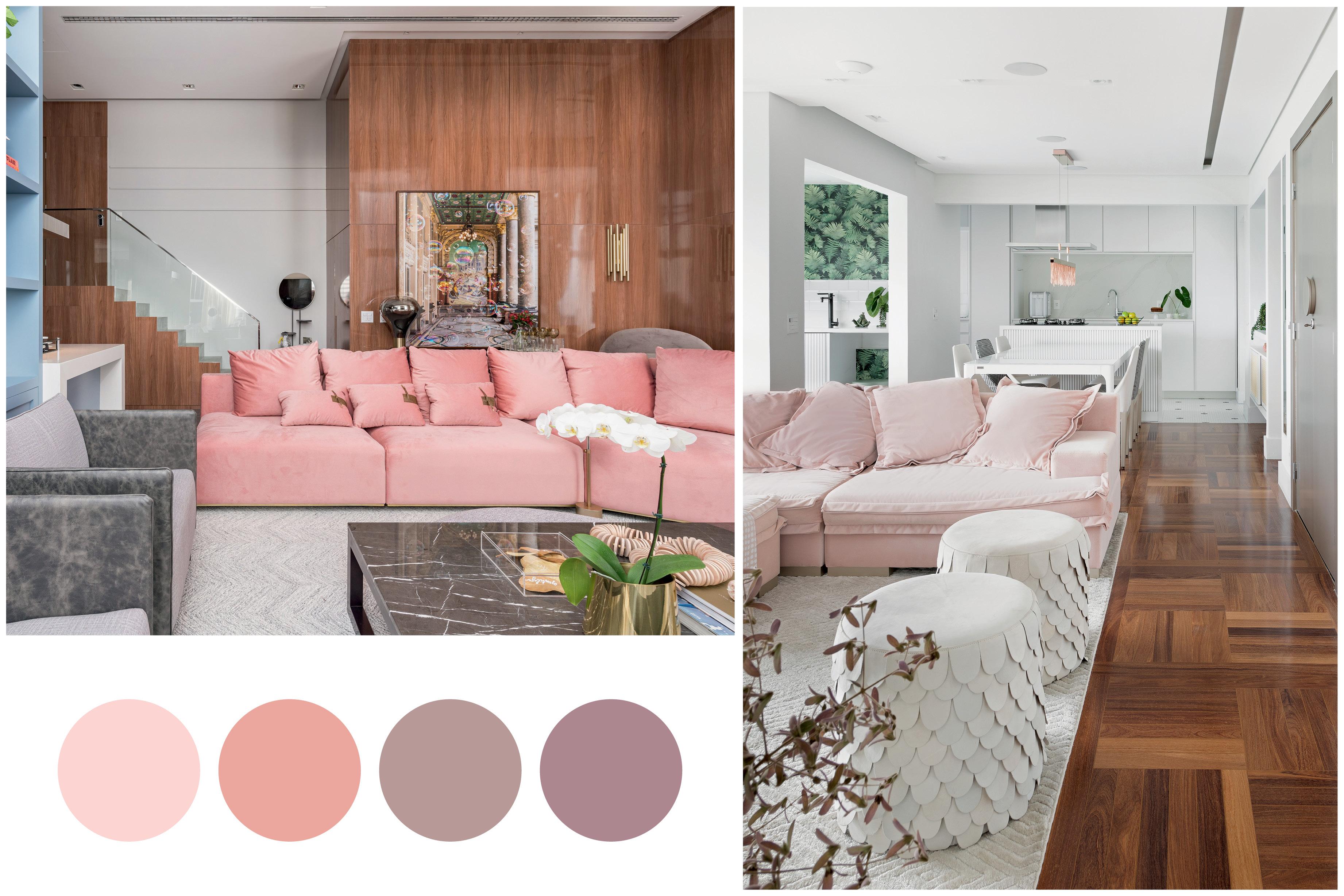 sofás coloridos e paletas de cor