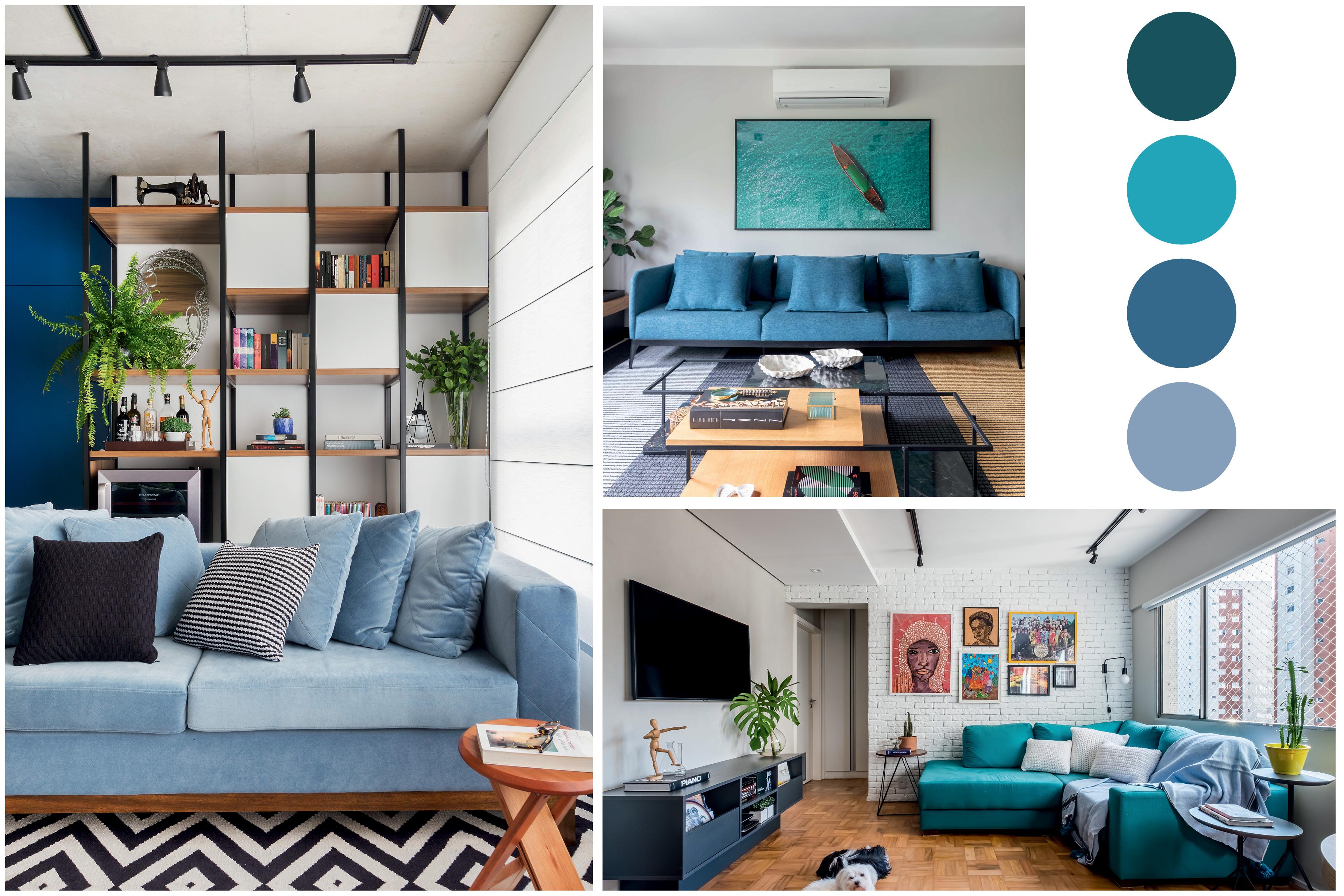 ambientes com sofás coloridos