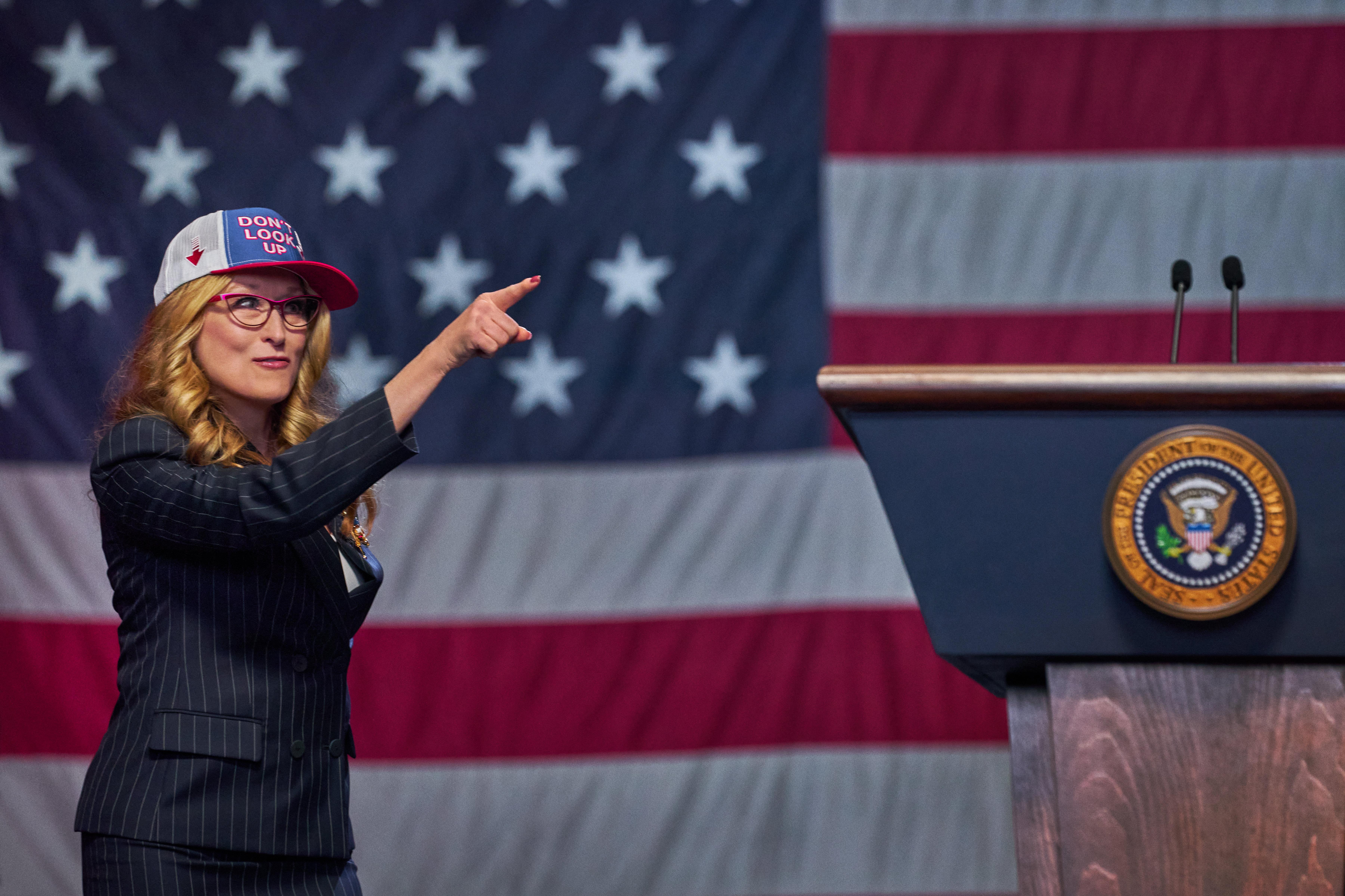 Meryl Streep como a presidente Janie Orlean, em Não Olhe para Cima