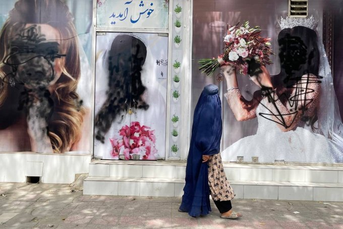 Most of Beauty Salons in Kabul remain closed and painted over