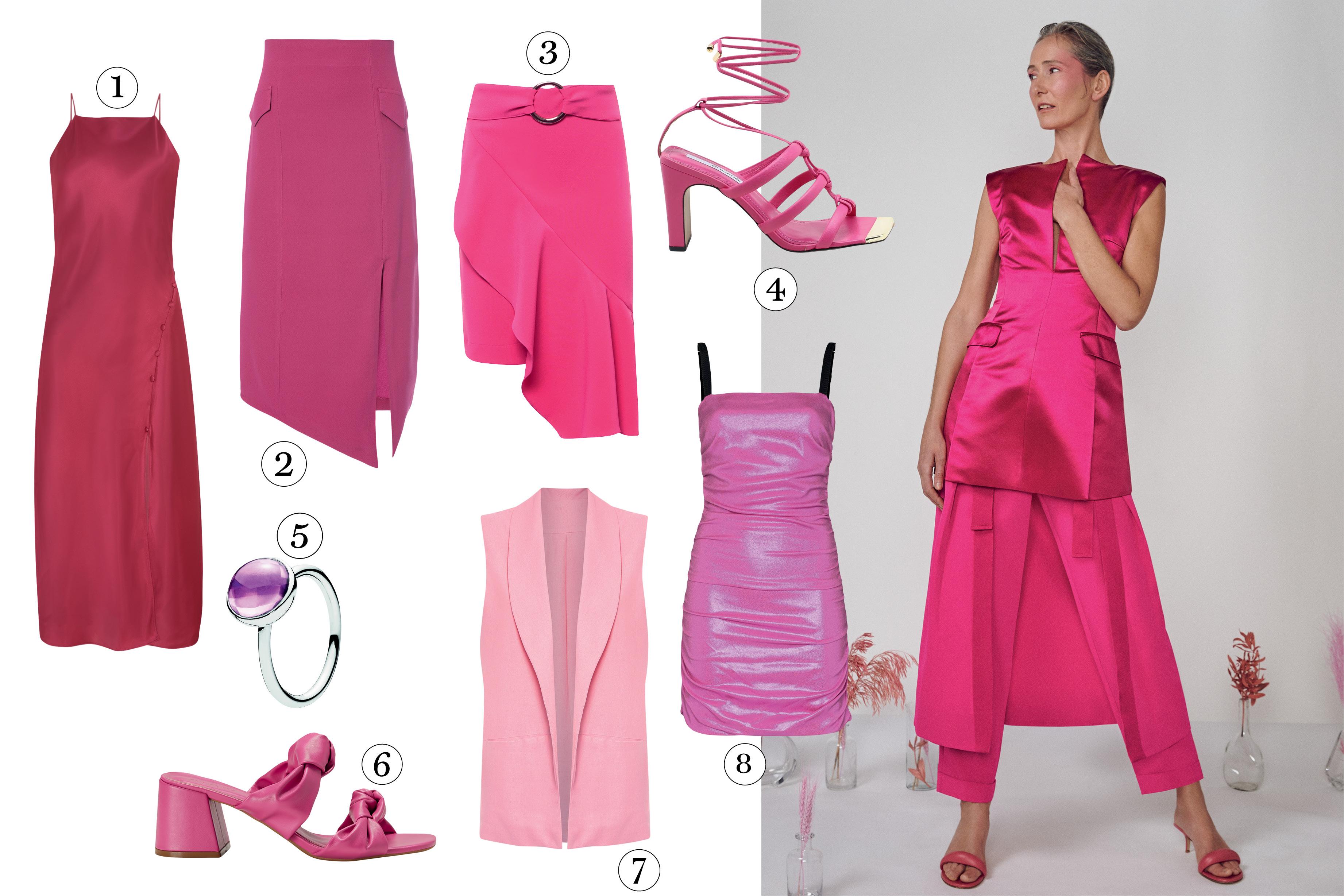 modelo com roupas rosas e peças cor de rosa