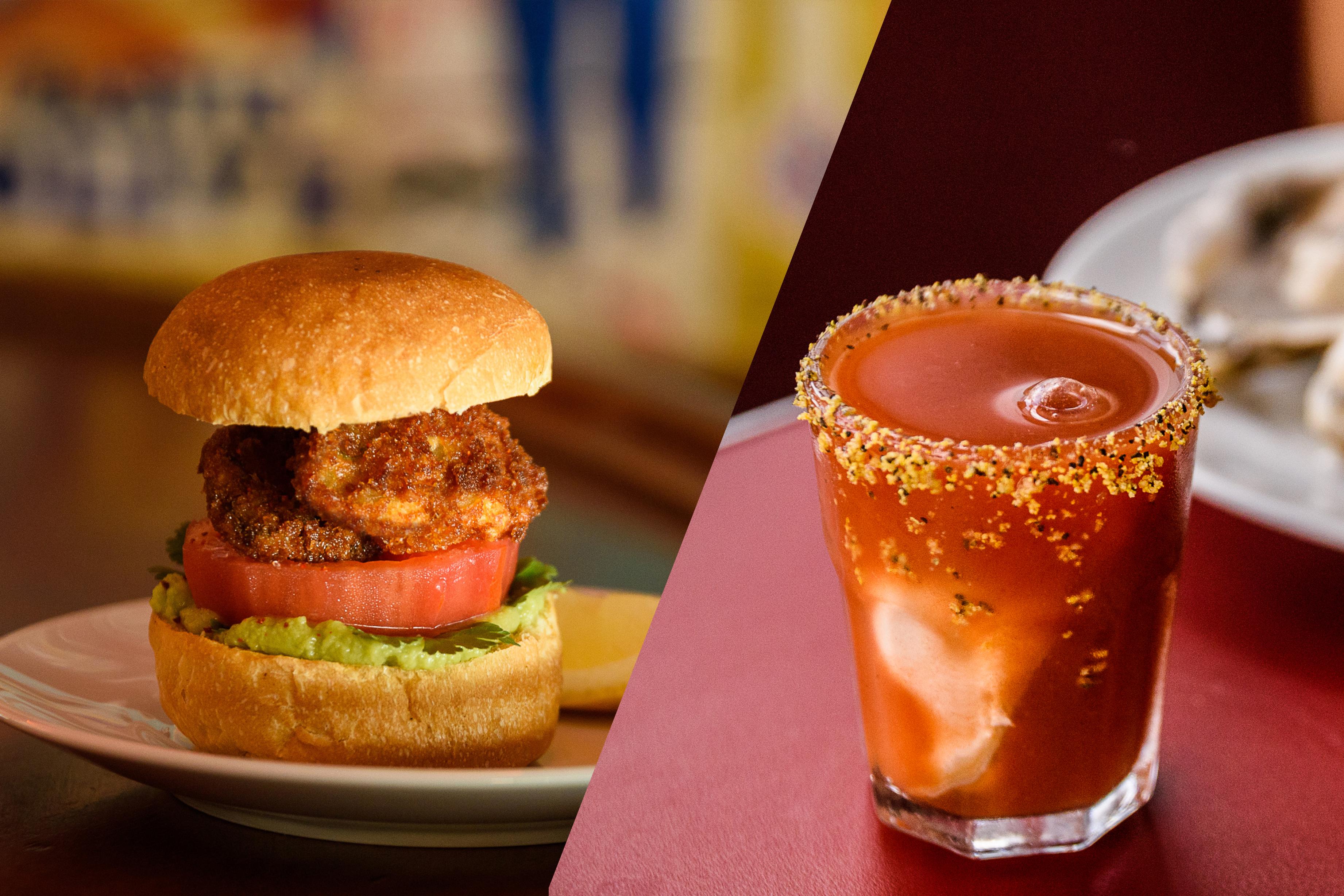 Sanduíche de Ostra empanada e o drinque Oyster Shot, do Le Jazz Petit