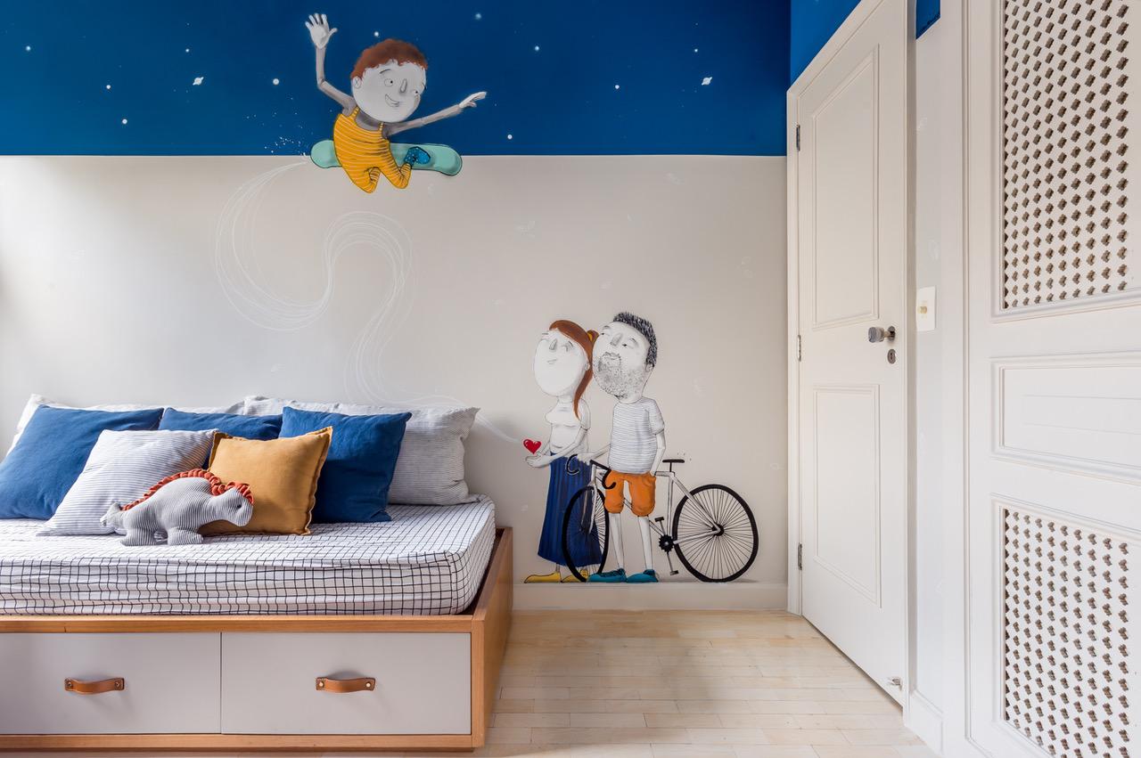 quarto infantil com pintura na parede