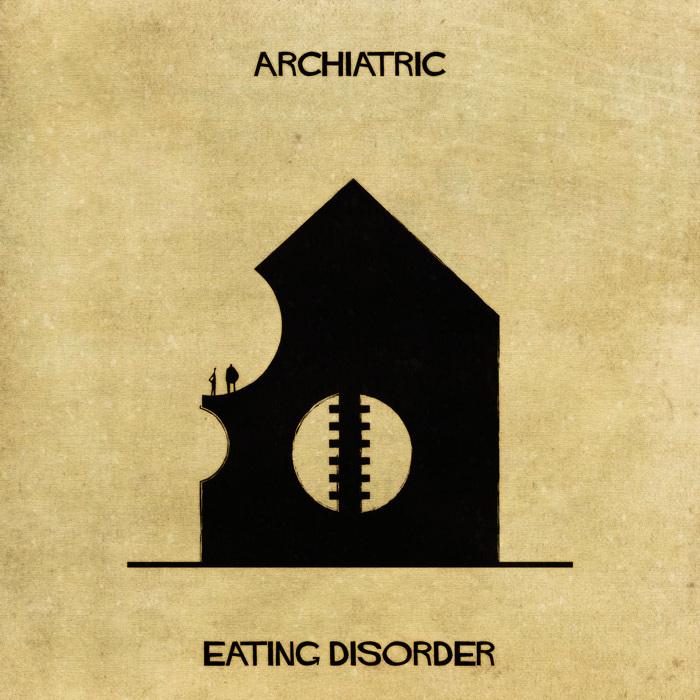 Ilustração de uma casa representando distúrbios alimentares