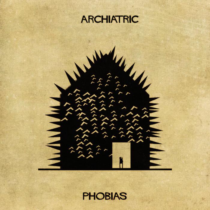 Ilustração de uma casa representando as fobias
